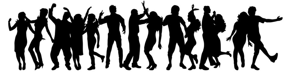 Vector silhouette of people on white background.
