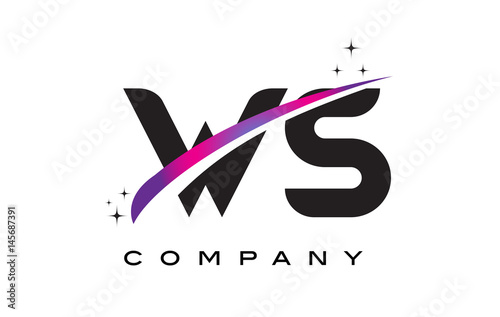 WS W S Black Letter Logo Design With Purple Magenta Swoosh