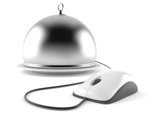 Catering dome with computer mouse
