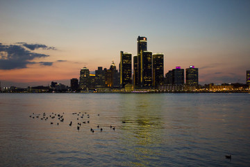 Detroit Skyline at Sunset, as seen from Windsor