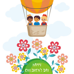 Happy children's day greeting card with the image of the hot air balloon, the planet Earth and children of different races. Vector illustration in cartoon style