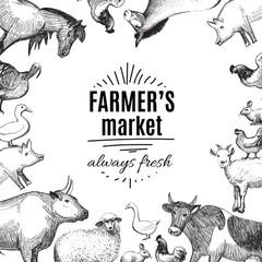 Farmer's market doodle label or badge template for menu design restaurant or cafe. Vector illustration