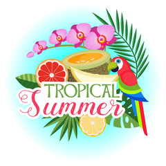 Vector illustration of tropical palm leaves, exotic colourful parrot, fruits and flowers.
