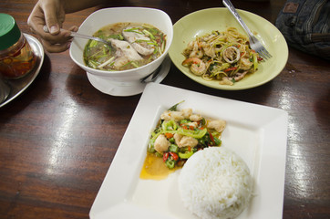 Food set thai style for lunch for two person in restaurant