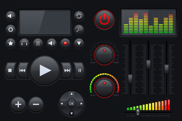 Set of media interface buttons.