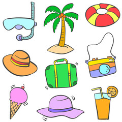 Collection stock of summer object doodles colorful