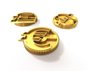 Gears with golden dollar sign, pound, euro symbol, 3D illustration