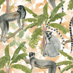 Watercolor painting seamless pattern with banana trees and lemurs