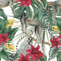 Watercolor painting seamless pattern with tropical flowers,leaves and lemurs