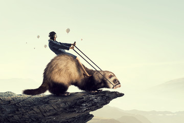 Wall Mural - Woman ride ferret