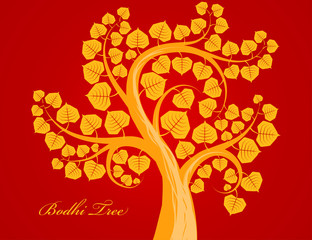Gold Budhi tree scene vector on a red background