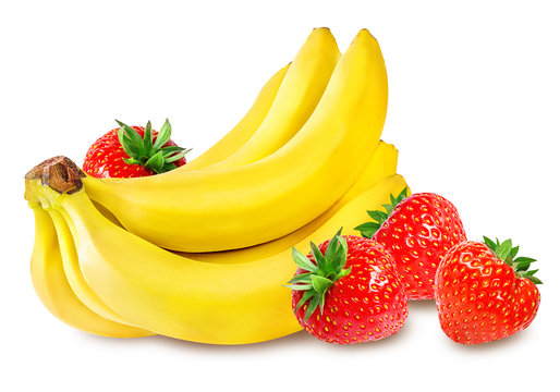 Bananas and strawberries isolated
