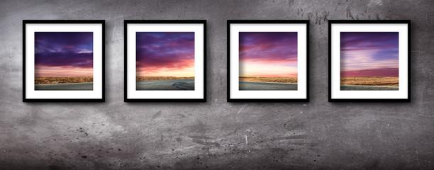 paesaggio tramonto in quattro quadri