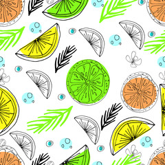Vector hand drawn cute seamless pattern. Tropical party.