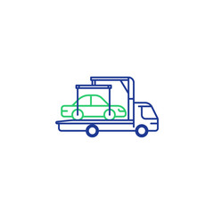 Tow truck line icon, vehicle relocation, car breakdown