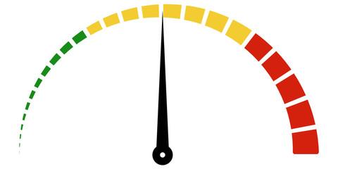Speed metering icon scale meter broken into sectors, vector
