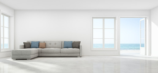 Wall Mural - Sea view living room with empty wall in modern beach house, Luxury white interior of summer home - 3D rendering