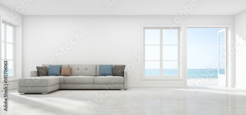 Sea View Living Room With Empty Wall In Modern Beach House Luxury White Interior Of