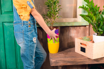 Close-up partial view of girl in dungarees holding colorful pots on porch