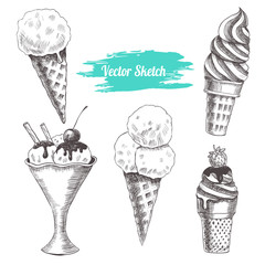 Set of vector ice cream. Vintage style
