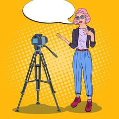 Teenager Blogger Recording Video. Female Vlogger. Pop Art vector illustration