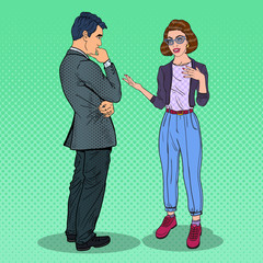 Young Woman Explaining Something to Man. Pop Art vector illustration