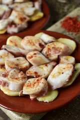 pulpo a la gallega, a recipe of octopus typical in Spain