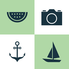 Season Icons Set. Collection Of Ship, Armature, Melon And Other Elements. Also Includes Symbols Such As Citrus, Armature, Ship.