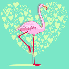 Vector pink flamingo bird illustration. Hand drawn sketch with the wild animal. Romantic Valentines day illustration