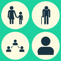 Human Icons Set. Collection Of Grandpa, Network, Family Elements. Also Includes Symbols Such As Mother, Man, Avatar.