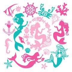 Paper Cut Silhouette Vintage Mermaid Nautical Set