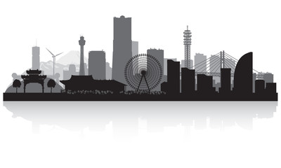 Yokohama Japan city skyline silhouette