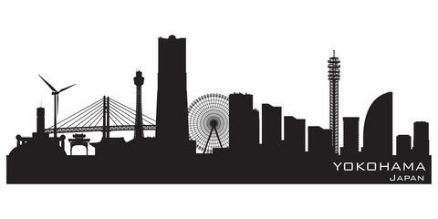 Fototapete - Yokohama Japan city skyline vector silhouette