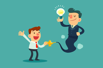 businessman genie with idea bulb come out of magic lamp