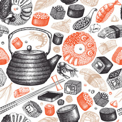 Vector sushi seamless pattern