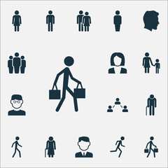 Person Icons Set. Collection Of Beloveds, Group, Work Man And Other Elements. Also Includes Symbols Such As Relation, Family, Work.