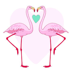 Vector pink flamingo bird couple illustration. Hand drawn sketch with the wild animal. Romantic Valentines day illustration