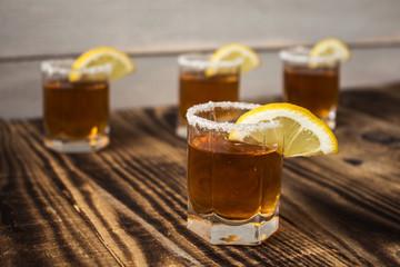 alcohol shot drinks with lemon and salt