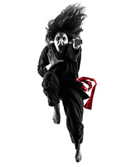 Foto op Aluminium Vechtsport one caucasian woman practicing martial arts Kung Fu Pencak Silat in studio isolated on white background