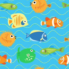 Seamless cute pattern with different tropical fish