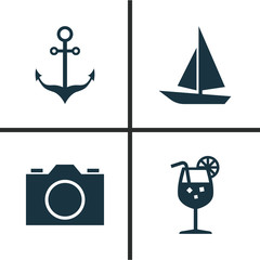 Season Icons Set. Collection Of Ship, Video, Vitamin And Other Elements. Also Includes Symbols Such As Camera, Video, Sea.