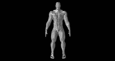 Linear, chrome, stripped man, 3d rendering as contour slices. Front view