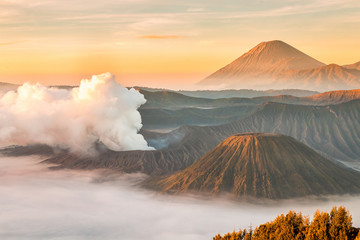 Foto op Plexiglas Grijs Landscape of Mount Bromo volcano, Batok and Semeru (Mt.) during sunrise from viewpoint on Mount Penanjakan located in Bromo Tengger Semeru National Park, East Java, Indonesia.