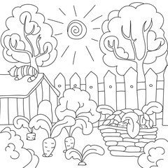 vector coloring book carrots in the garden