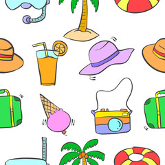 Illustration of summer object pattern
