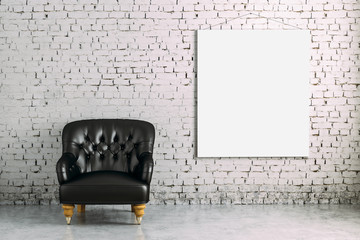 3d interior room with armchair and blank poster