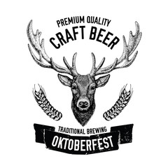 Hand drawn beer emblem with deer Vector label