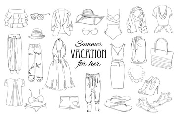 Summer travel packing for vacation. Woman clothing set. Vector hand drawn isolated objects. Black and white fashion collection for girl.