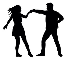 Guy and girl dancing silhouette vector, illustration