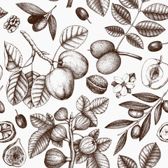 Seamless pattern with hand drawn trees